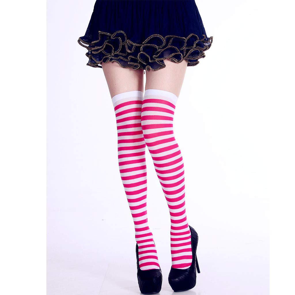 Freshsell Donna Lungo Calze a Righe a Contrasto Color Autoreggenti Cosplay Halloween A# Pink+White