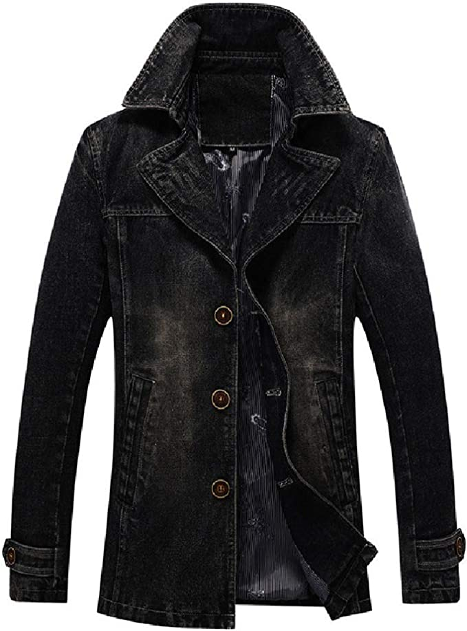 Wilngo Men's Notch Lapel Long Sleeve Single-Breasted Slim Denim Trucker Jacket Coat