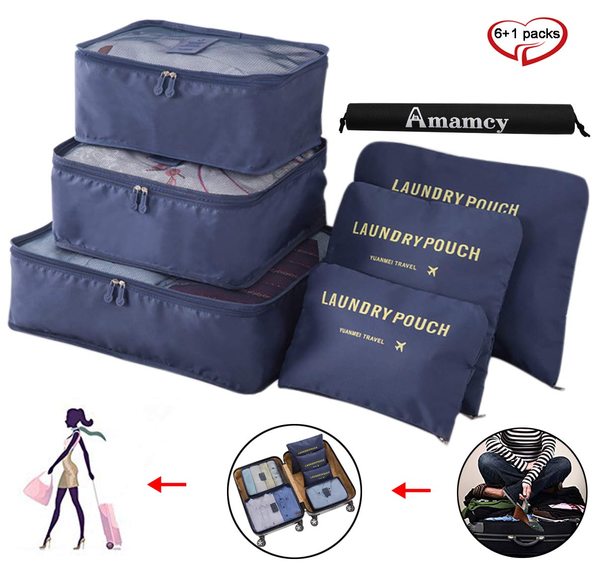 Amamcy 7 Sets Packing Cube Travel Storage Luggage Organizer Bags Clothes Toiletries Mesh Pouch Accessories