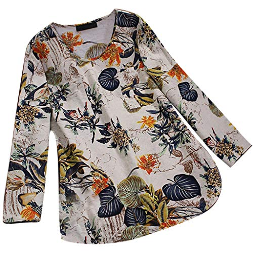 JOFOW Tops Womens Loose Boho Floral Flowers Print Pleated Cowl Crew O Neck 3/4 Long Sleeve Shirts Vintage Retro Loose Blouses -