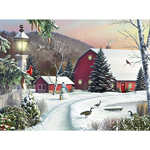 Bits and Pieces - 500 Piece Jigsaw Puzzle - in The Still Light of Dawn - Snowy Barn with Birds Winter Landscape Puzzle - by Artist Alan Giana - 500 pc Jigsaw