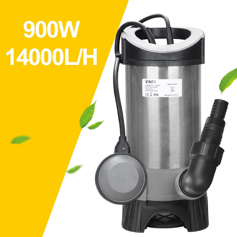 D/ébit Max Wolketon 1100W Pompe pour Eaux 7500 l//h Pompe d/évacuation pour Eaux Charg/ées Interrupteur /à Flotteur pour particules jusqu/à 35 mm