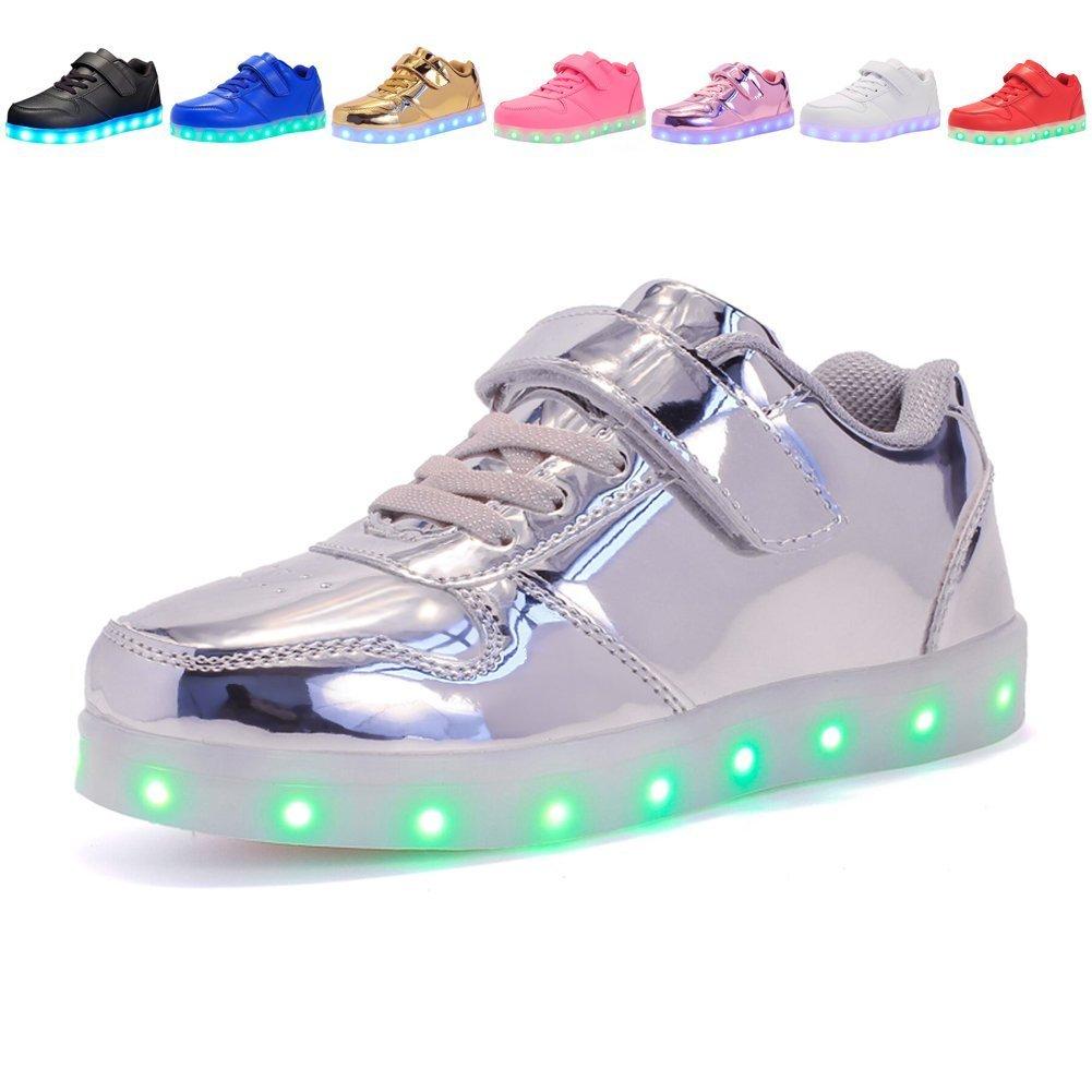 Kids USB Charging Light Up LED Shoes Flashing Sneakers For Boys Girls Walking Shoes Luminous (Silver 4 M US Big Kid)