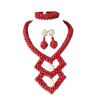 4585d62c525e AMYNOVA Juego de Collar y Collar de Mujer con Cristales Rojos para Boda de  África y Nigeria