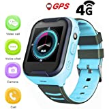 Goglor Kids Smartwatch Phone, Childrens IP67 Waterproof SOS Call GSM Sim Touch Screen 4G Smart Tracker Watch, Support Video Voice Chat/Anti-Lost Alarm/Camera/GPS/Lbs/WiFi for Kids Boys and Girls