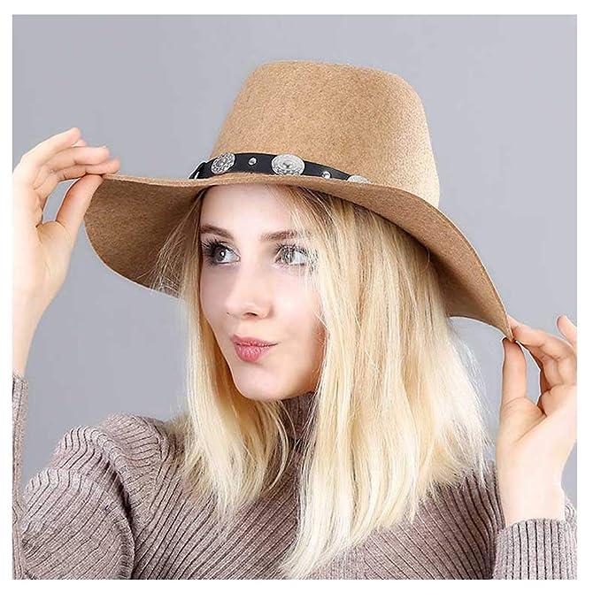 CHENJUAN Sombrero Damas Británicas Ola A lo largo de Fedora Sombrero  Cinturón de lana Sombrero de a232403cbe5