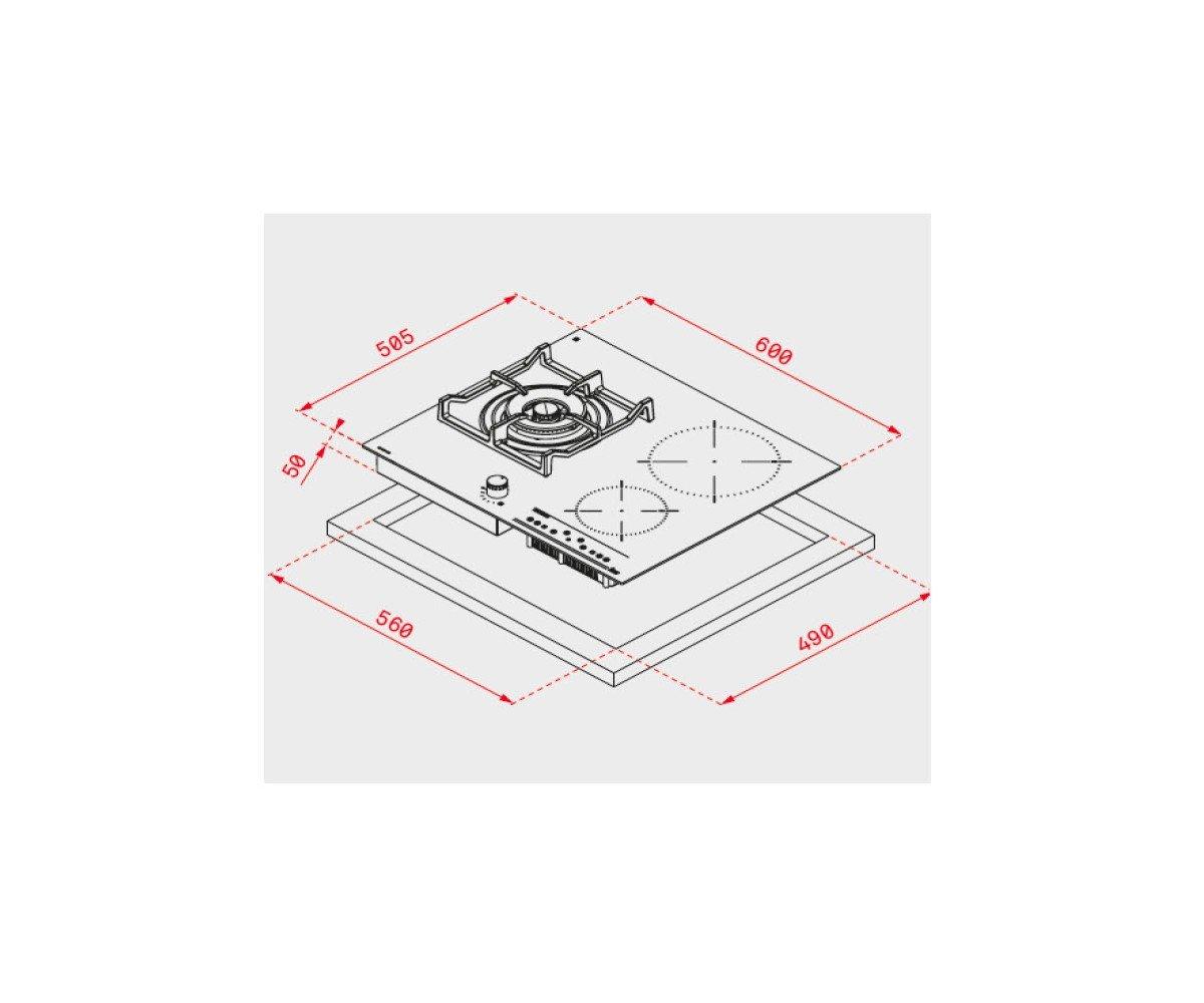 Teka IG 620 1G AI AL DR NAT Integrado Combi Negro - Placa (Integrado, Combi, Vidrio y cerámica, Negro, hierro fundido, 1600 W)