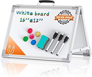 Small Whiteboard Dry Erase Boards, Portable White Board Double Sided Magnetic Board Stand, Foldable Desktop White Boards for Kids Students Teacher for School Home Kitchen Office 12x16 Inch