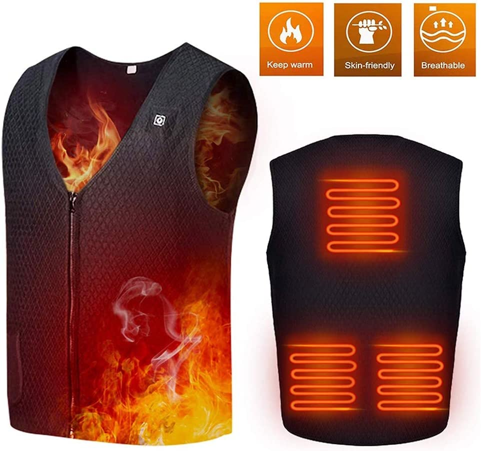 LY Heated Vest,Adjustable Washable USB Charging Electric Heated Jacket for Men Women,5 Heating Pads,for Outdoor Motorcycle Riding Golf Hunting(NO Power Bank)