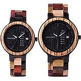 BOBO BIRD メンズ レディース 木製腕時計 カラフル 木材 腕時計 デイデイト表示 多機能 手作り クォーツ時計 スポーツ クロノグラフ ユニーク