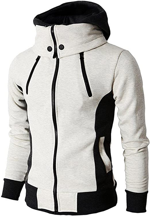 2018 Fashion Men Casual Hooded Zipper Sweatshirt Long Sleeve Fleece Jacket Coat