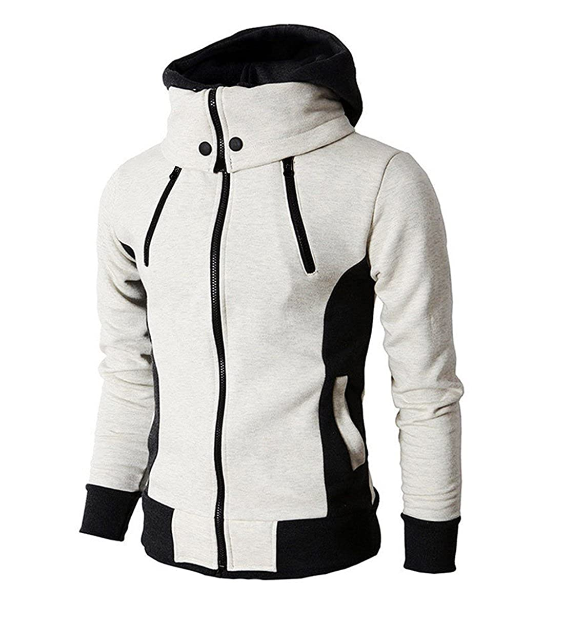 LOCALMODE Men's Double Zipper Hooded Jacket Turtleneck Fleece Hoodie Coat WY94