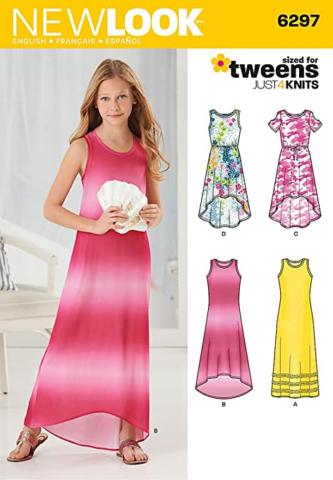 New Look 6297 Size A Girls\' Knit Dress Sewing Pattern, Multi-Colour ...