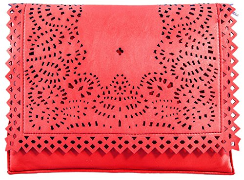 Bag Perforated Red Messenger Leather Clutch HandBags Crossbody Faux Handbag Girly Laser Cut New 8Bq7gR
