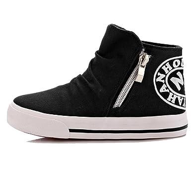 3f6954857e8e iDuoDuo Boys Girls Classic High Top Zipper Canvas Shoes Kids Sneakers Black  8.5 M US Toddler
