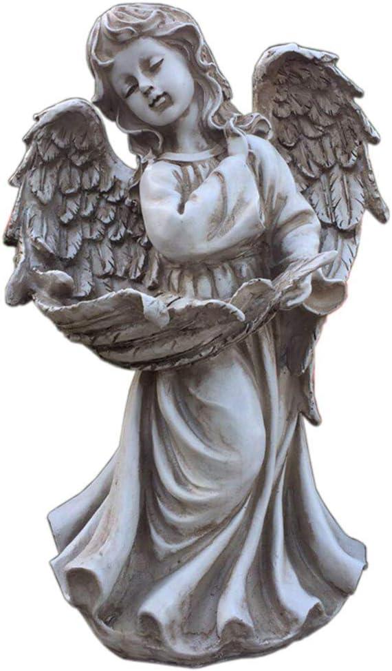 Garden Angel Statue, Outdoor Garden Decoration Sculpture Little Girl Statue Vintage Garden Ornament H13 Inches
