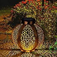 Farol Solar GolWof Solar Lantern Outdoor LED Luz Colgante Lámpara de Metal de Luces de Jardín Lámpara Hexagonal - Dorado