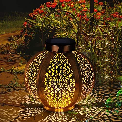 Farol Solar GolWof Solar Lantern Outdoor LED Luz Colgante Lampara de Metal de Luces de Jardin Lampara Hexagonal - Dorado