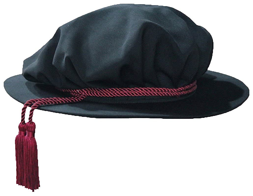 Black Velvet Doctoral Beefeater Style Red Tassel Bonnet - DeluxeAdultCostumes.com