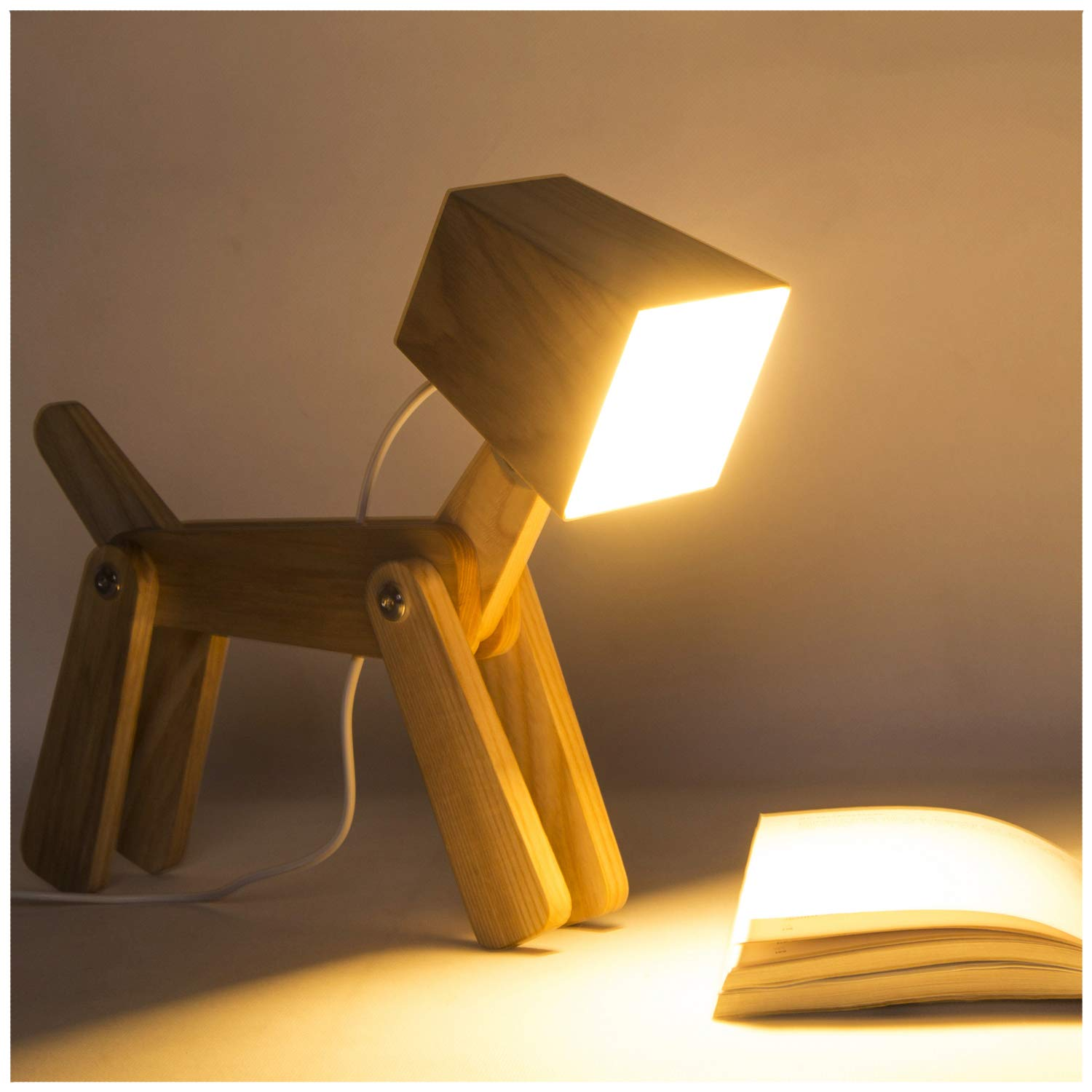 HROOME Cute Wooden Dog Design Adjustable Dimmable Bedside Table Lamp Touch Control 6W for Bedroom