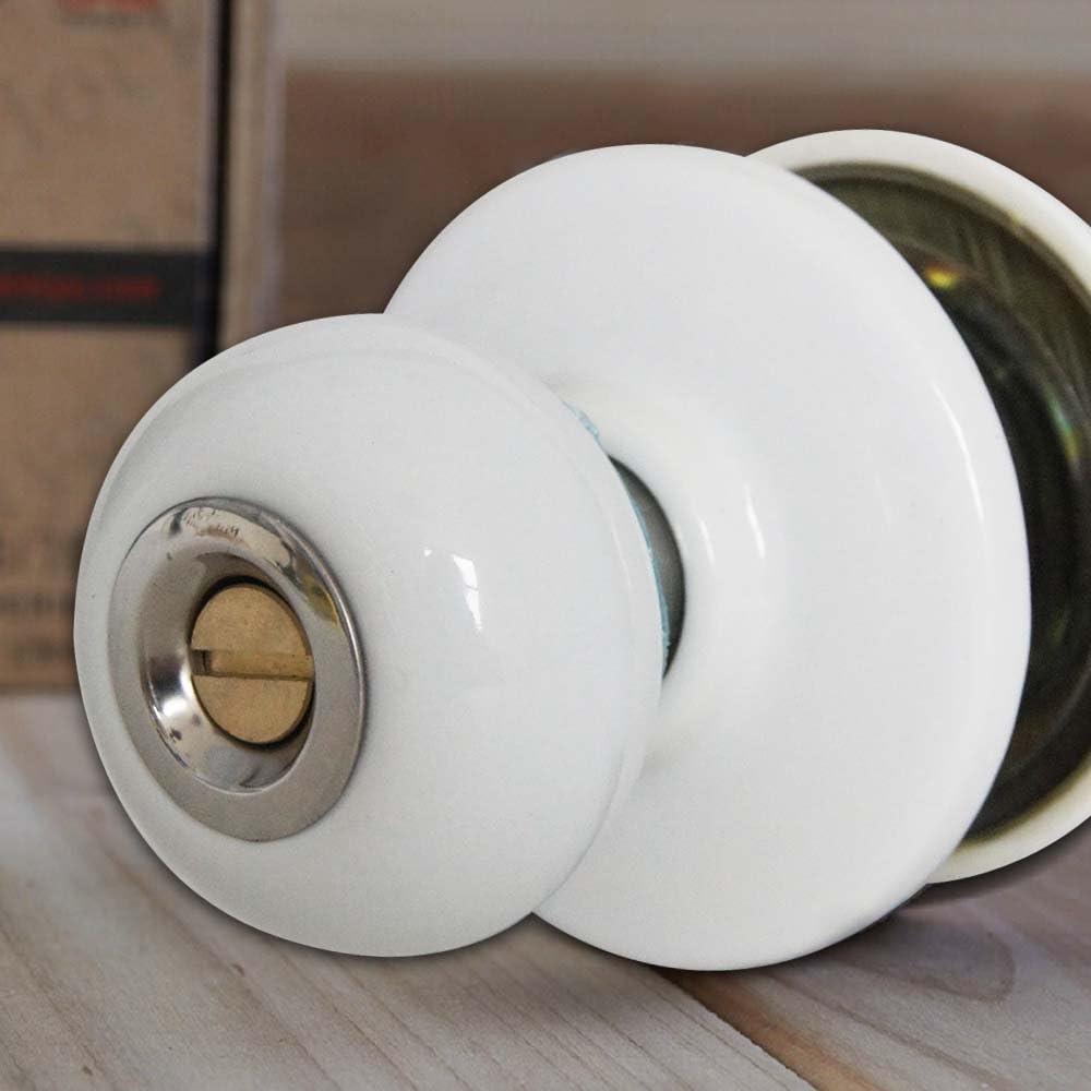 501616B Decorative Door Knob White Ceramic Handle Entrance Lock Latch Privacy