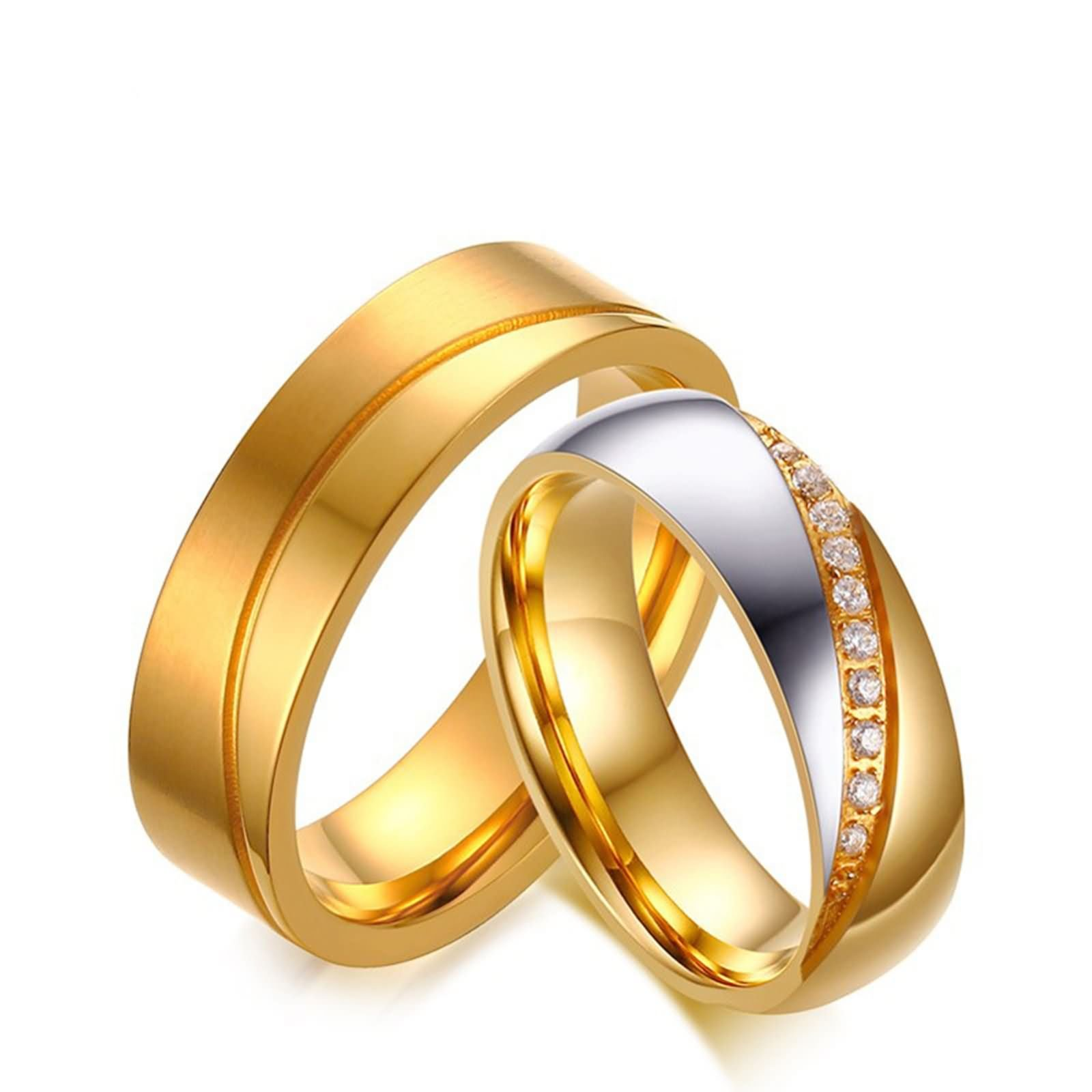 Beydodo Matching Ring Sets for Couples Stainless Steel Ring Engagement Round CZ Women Size 6 & Men Size 12