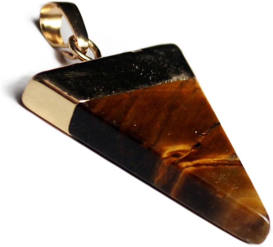 REFURBISHHOUSE Oro Plateado Semi-Preciosas Piedras Triangular Piramide Chakra Colgante para Collar Ojo de Tigre Amarillo