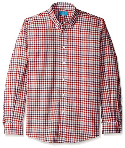 - Castaway Nantucket Men's Straight Wharf Long Sleeve Shirt, Harvest Square Weathered Red, L
