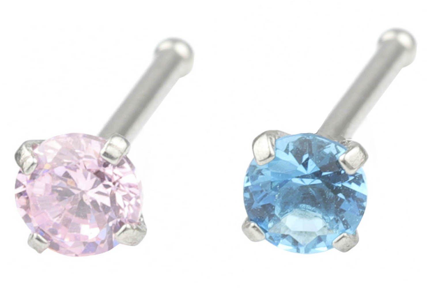 Du 1-8Pcs 18G 3mm Round/Heart Diamond Cz Nose Bone Studs Rings Pin Piercing Jewelry