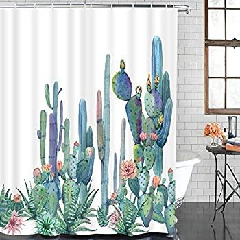 BLEUM CADE Smurfs Yingda Bathroom Shower Curtain Tropical Cactus Shower Curtains with 12 Hooks, Cactus Flowers Blossom Bath Curtain Durable Waterproof Fabric Bathroom Curtain (Cactus, 70 × 69 inches)