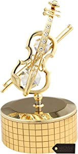 Matashi 24 K Gold Plated Violin Music Box Plays- Memory with Crystals Tabletop Showpiece Office Desk Home Decor - Gift for Musician Mother's Day Christmas Valentine's Day Housewarming Present