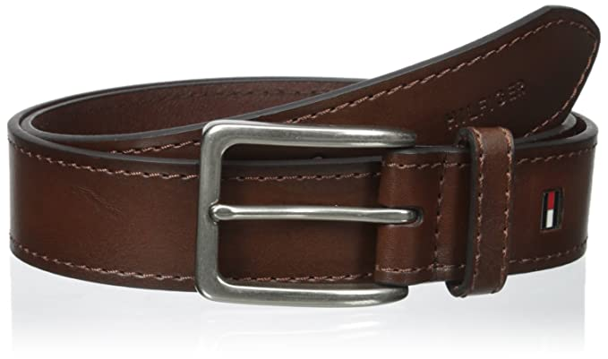 3d00431da Tommy Hilfiger Brown Leather Belt - Dress or Casual for Men Jeans with  Thick Strap with Stitching and Silver Buckle at Amazon Men's Clothing store: