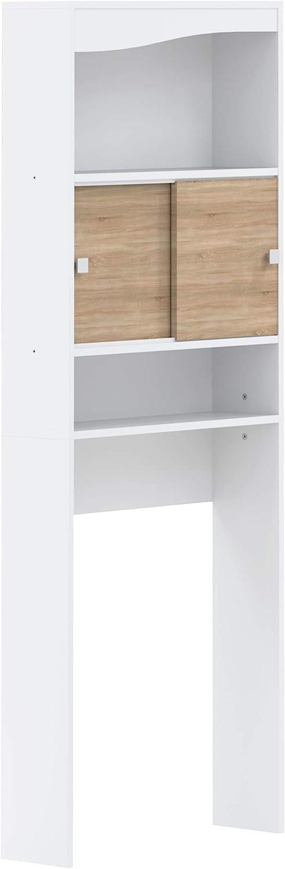 Marca Amazon - AmazonBasics - Mueble de baño, 96 x 43,1 x 12cm (largo x ancho x alto), roble y blanco