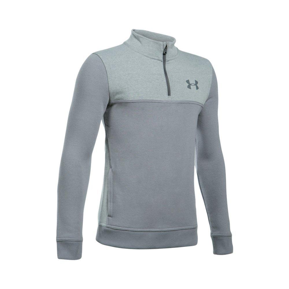 Under Armour Boys' Threadborne Fleece ¼ Zip,Steel /Graphite, Youth X-Small
