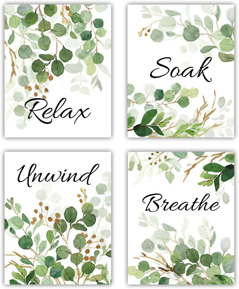 Relax Soak Unwind Breathe with Green Leaf Art Print,Botanical Bathroom Quotes Wall Art,Set Of 4(8X10inch,Unframed) Watercolor Minimalist Words Canvas Poster For Washroom Toilet Decor