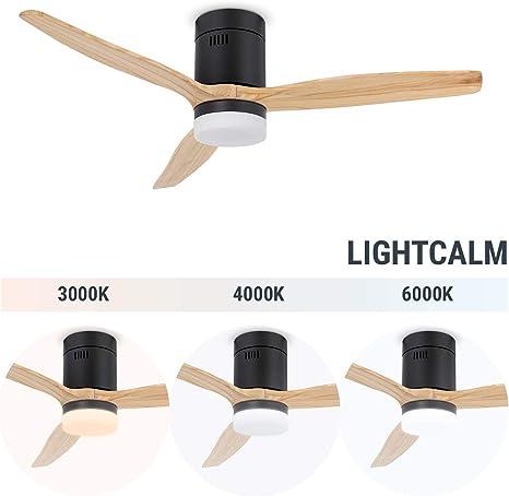 IKOHS LIGHTCALM Black - Ventilador de Techo con Luz, Silencioso, 3 ...