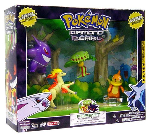 PokeMon Diamond an Pearl Exclusive 5 Pack Figure Set - Forest Scene Playset with Ponyta, Carnivine, Chatot, Buizel and Gengar