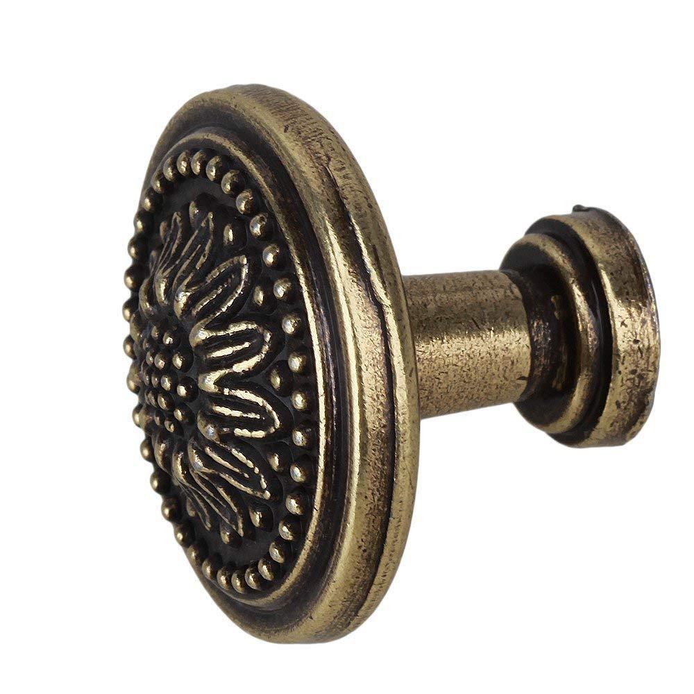 TILY 25 x 23mm Antique Bronzy Fleur Poign/ée Ronde Armoire de Cuisine Armoire Porte Tiroir de Tirage Bouton Sans Vis Pack de 6