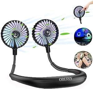 Portable Fan,OBERLY Mini Fan,Personal Fan,USB Fan,Handheld Fan,2500mAh Charging Battery Hands Free Neck Fan,Stroller Fan,3 Speeds 4-16 Hours Outdoor for Office Travel Fan (Upgrade LED Lighting)
