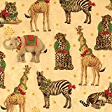 Caspari Entertaining with Continuous Roll of Gift Wrapping Paper, Wild Christmas Gold Foil, 8-Feet, 1-Roll