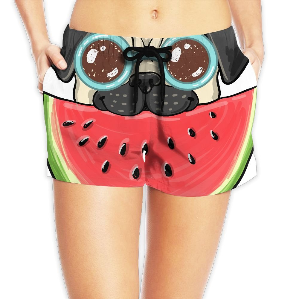 OIADNKAS Women's Pug Dog in Sunglasses Eating Watermelon Quick Dry Fashion Casual Beach Boardshort Swim Shorts Medium