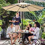 JEAREY Patio Umbrella 10 Ft Offset Cantilever Umbrellas Outdoor Market Hanging Umbrella & Crank with Cross Base, 8 Ribs