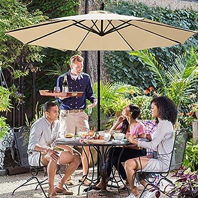 JEAREY Patio Umbrella 10 Ft Offset Cantilever Umbrellas Outdoor Market Hanging Umbrella & Crank with Cross Base, 8 Ribs
