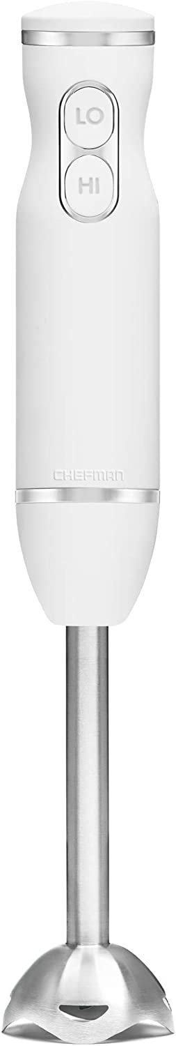 Chefman Immersion Stick Hand Blender with Stainless Steel Blades, Powerful Electric Ice Crushing 2-Speed Control Handheld Food Mixer, Purees, Smoothies, Shakes, Sauces & Soups, Ivory (Renewed)