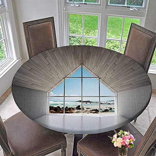 PINAFORE HOME Round Tablecloths Empty Lounge Area with Bay Window and sea or Everyday Dinner, Parties 47.5