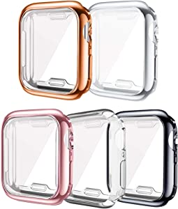 ISENXI Compatible for Apple Watch 6 Case 40mm,5 Pack Screen Protector TPU All-Around Protective Case Ultra-Thin Scratch Resistant Cover Compatible with Apple Watch SE Series 6 5 4 (5Pack, 40MM)