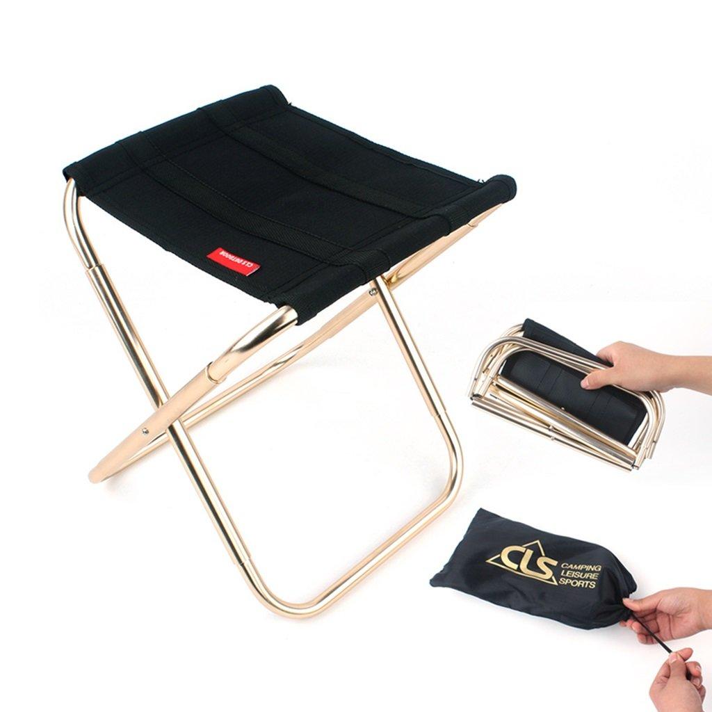 Tabourets Tabouret pliant en plein air tabouret portatif adulte pêche esquisse chaise en aluminium pliant tabouret pliant chaise de camping chaise de voyage ( Color : Black , Size : 24.8*27cm )