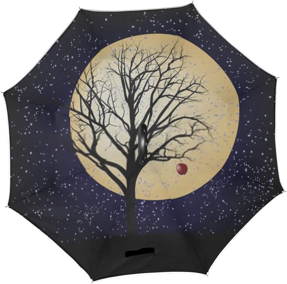 Double Layer Inverted Inverted Umbrella Is Light And Sturdy Bare Apple Tree Star Night Reverse Umbrella And Windproof Umbrella Edge Night Reflection
