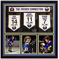Buffalo Sabres Robert, Perreault & Martin Autographed Signed Memorabilia French Connection 34X34 Banner Frame photo