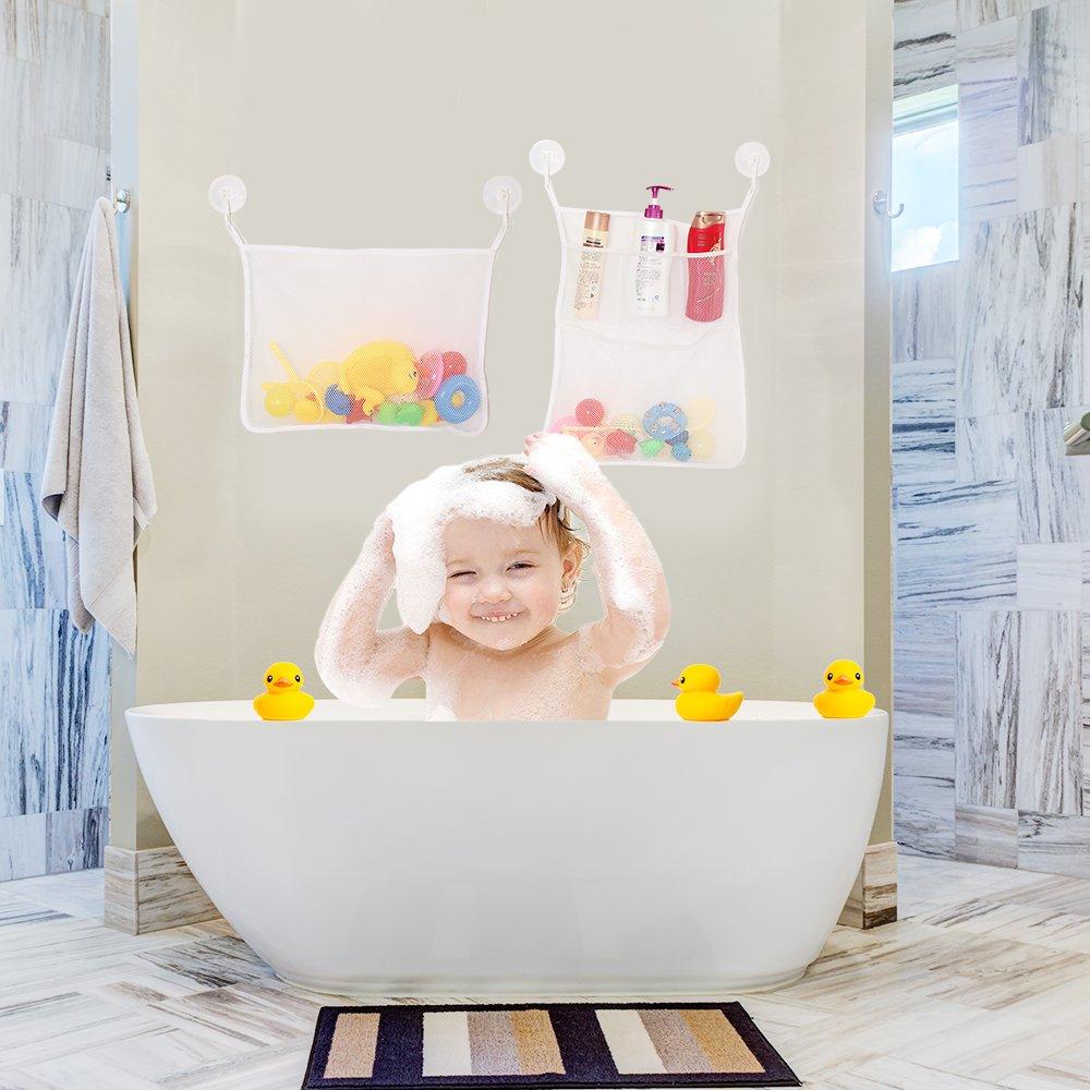Bath Toy Organizer, Tinabless Perfect Net for Bathtub Toys ...